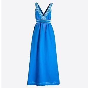J. CREW eyelet linen-blend maxi dress